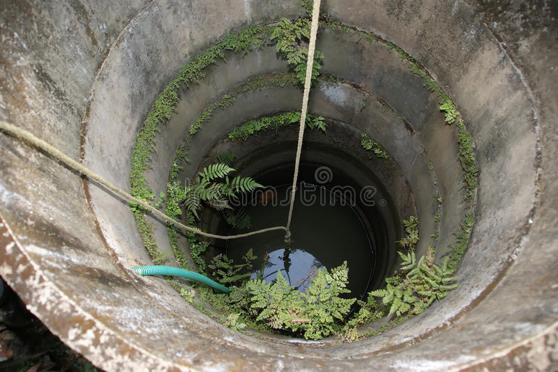 Vecchio bene nei contadini di un villaggio del povero, Kerala, India del sud immagine stock libera da diritti
