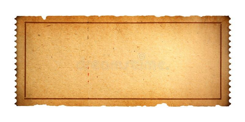 Vecchio biglietto in bianco fotografie stock libere da diritti