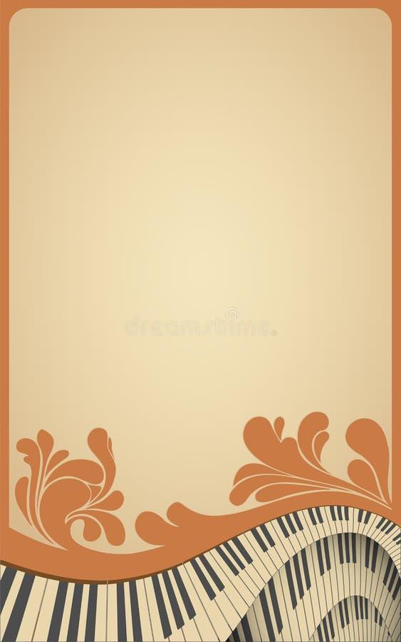 Vecchio blocco per grafici musicale con la tastiera di piano royalty illustrazione gratis