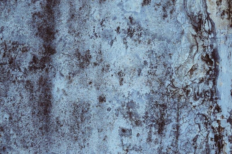 Vecchio, blu graffiato e antico, struttura del metallo fotografia stock libera da diritti