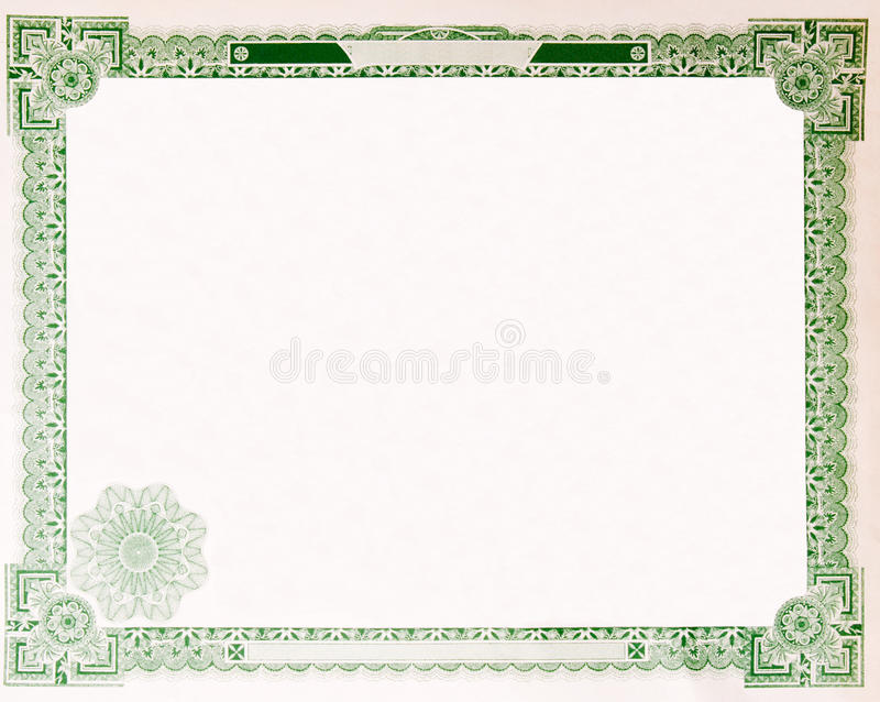 Vecchio bordo vuoto 1914 del certificato di riserva dell'annata immagine stock libera da diritti