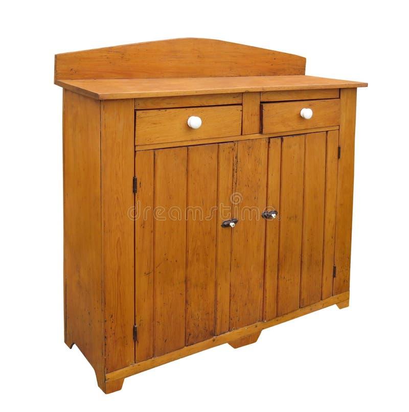 Vecchio buffet di legno isolato immagine stock