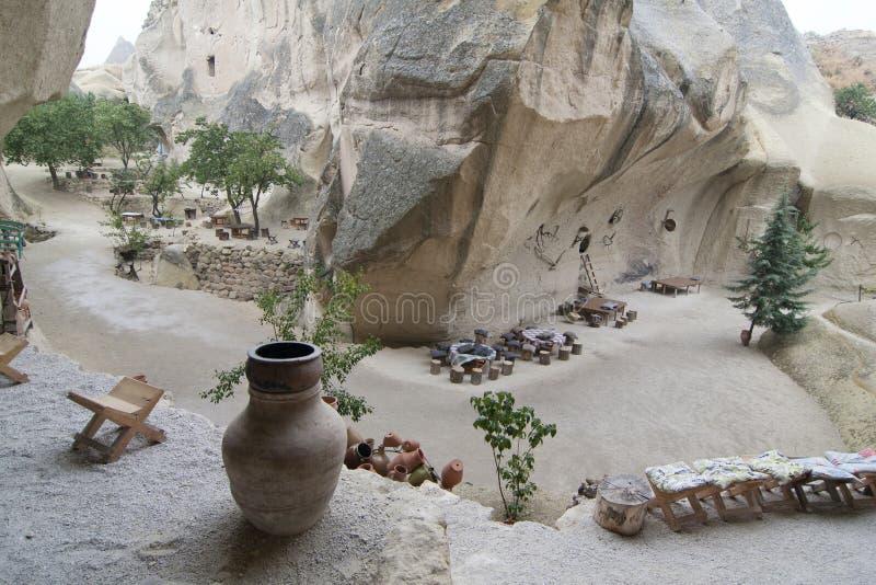 Vecchio caffè della casa della troglodita in valle nascosta, Cappadocia, Turchia fotografie stock libere da diritti