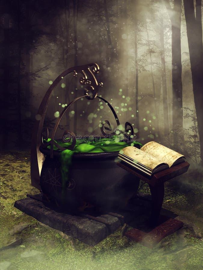 Vecchio calderone e un libro illustrazione di stock
