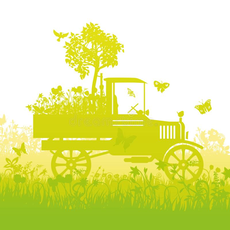 Vecchio camion con un piccolo albero sul caricatore illustrazione di stock