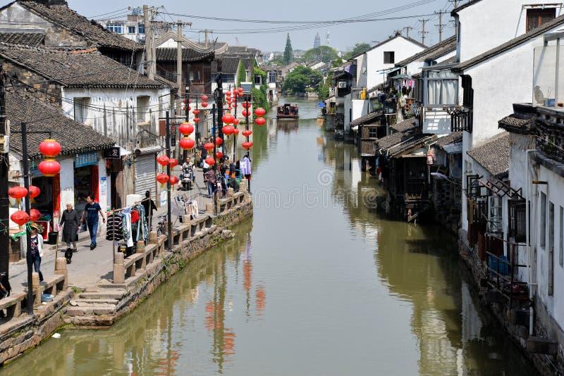 Vecchio canale della città di Suzhou, architettura tradizionale, Cina fotografia stock