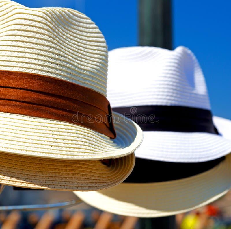 vecchio cappello di Panama nei precedenti fotografia stock libera da diritti