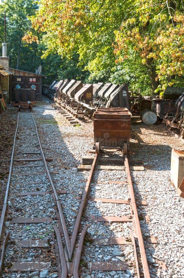 Vecchio carrello della miniera in foresta fotografia stock libera da diritti