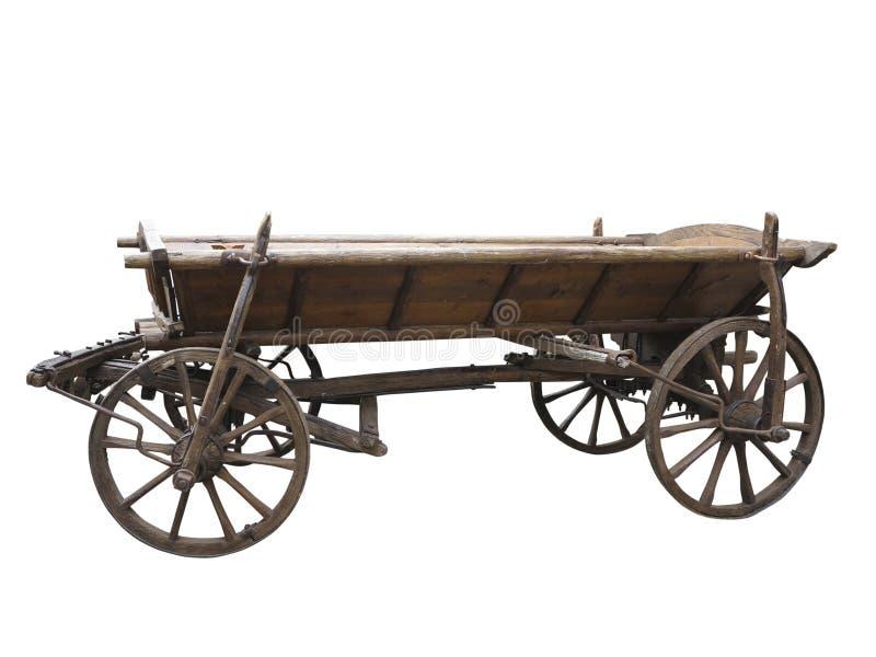 Vecchio carretto di legno ruvido d'annata isolato su bianco fotografia stock libera da diritti