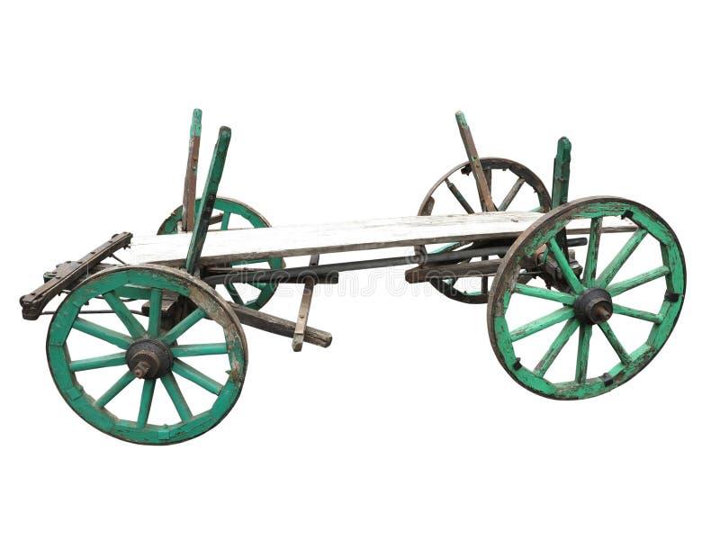 Vecchio carretto di legno ruvido d'annata isolato su bianco fotografia stock