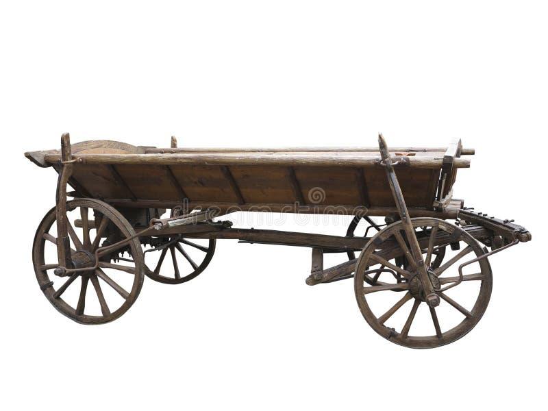 Vecchio carretto di legno ruvido d'annata isolato su bianco immagini stock