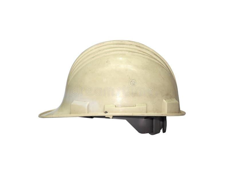 Vecchio casco bianco isolato su bianco immagini stock