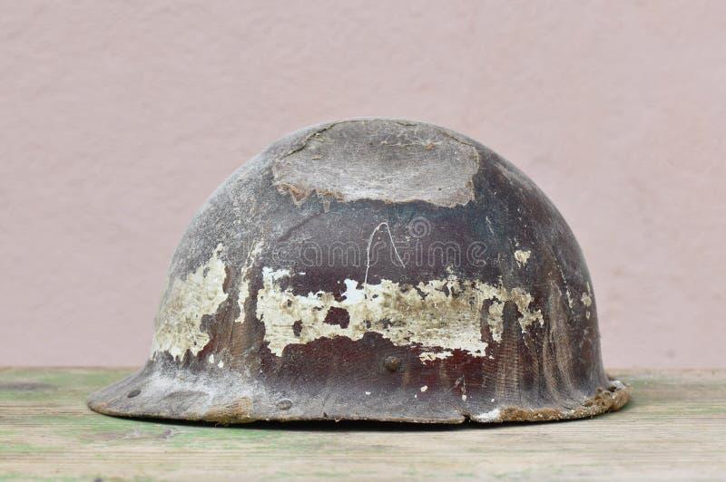 Vecchio casco del minatore fotografia stock libera da diritti