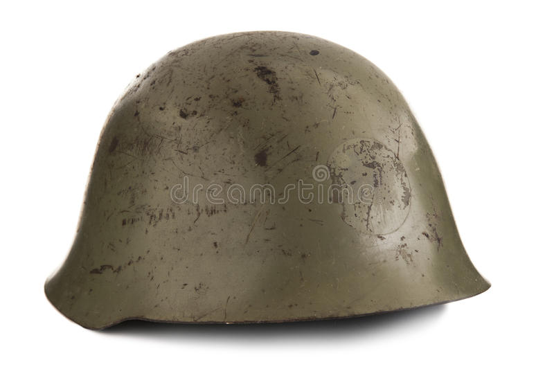 Vecchio casco militare fotografie stock