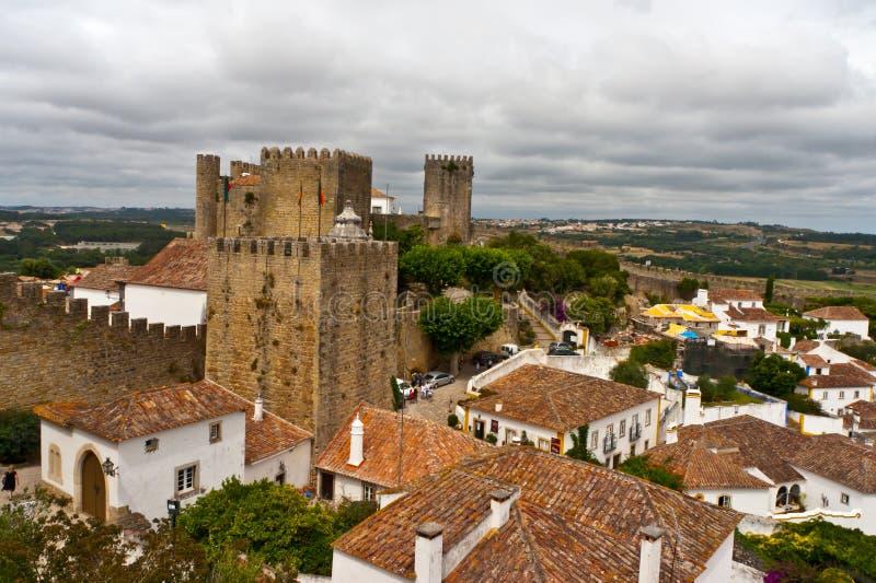 Vecchio castello della città di Obidos fotografie stock libere da diritti