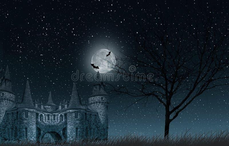 Vecchio castello misterioso con la luna piena e pipistrelli, vecchio albero e primo piano stellato del cielo illustrazione vettoriale