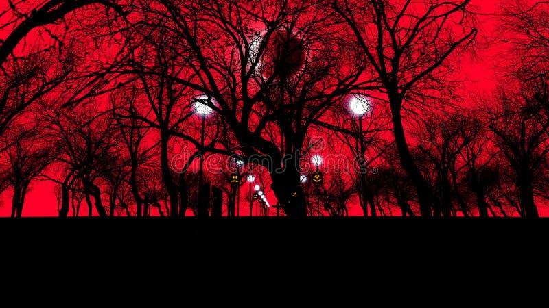 Vecchio cemetry con gli alberi spaventosi su Halloween royalty illustrazione gratis
