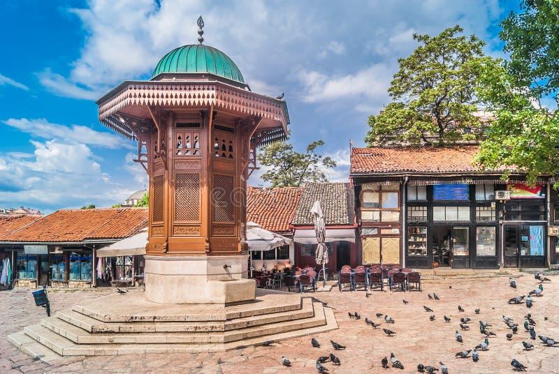 Vecchio centro urbano di Sarajevo fotografie stock libere da diritti