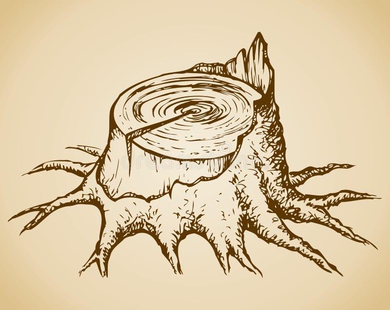 Vecchio ceppo di albero Schizzo di vettore royalty illustrazione gratis