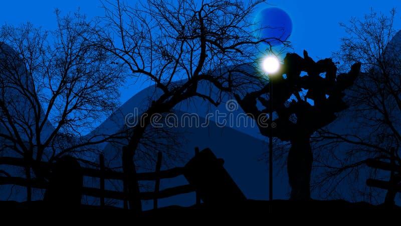 Vecchio cimitero con gli alberi spaventosi su Halloween royalty illustrazione gratis