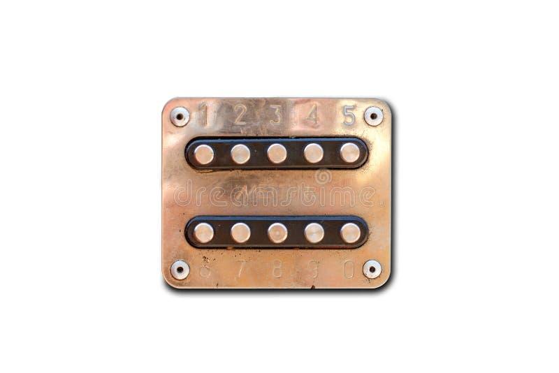 Vecchio citofono del metallo 10 bottoni Isolato su priorità bassa bianca Cl immagine stock libera da diritti