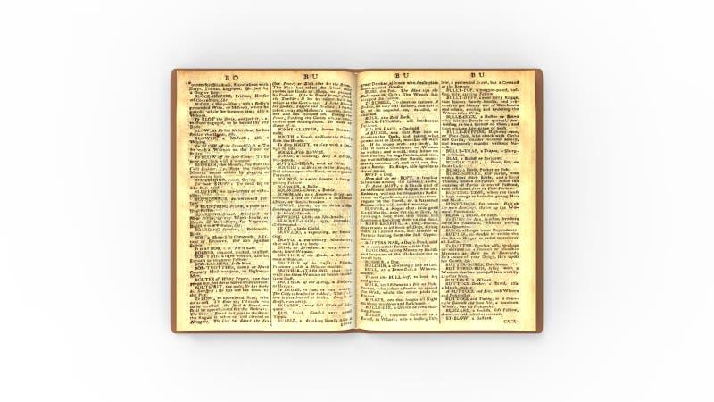 Vecchio classico del libro isolato nella rappresentazione bianca del fondo 3d dello studio illustrazione vettoriale