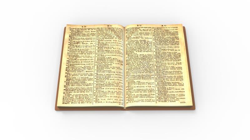 Vecchio classico del libro isolato nella rappresentazione bianca del fondo 3d dello studio royalty illustrazione gratis