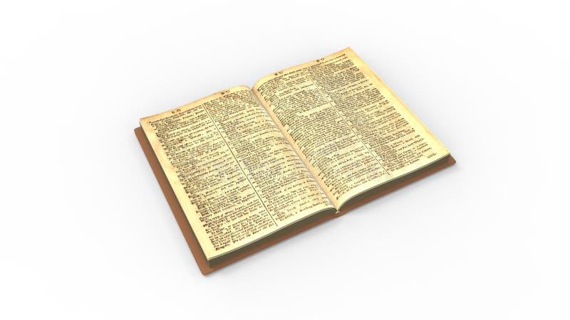 Vecchio classico del libro isolato nella rappresentazione bianca del fondo 3d dello studio illustrazione di stock