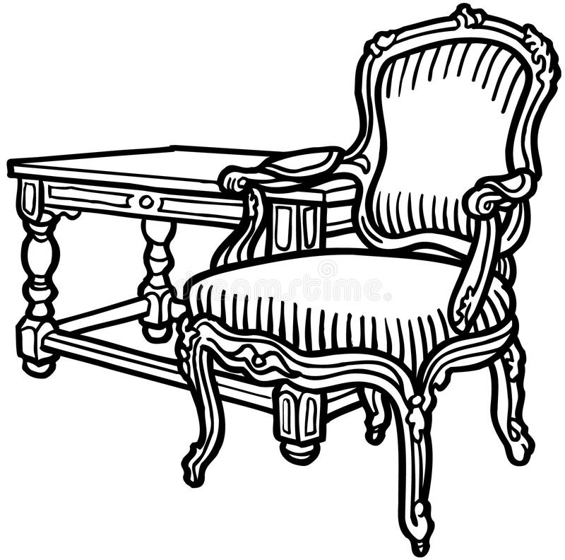 Vecchio clipart elegante di vettore del fumetto della sedia royalty illustrazione gratis