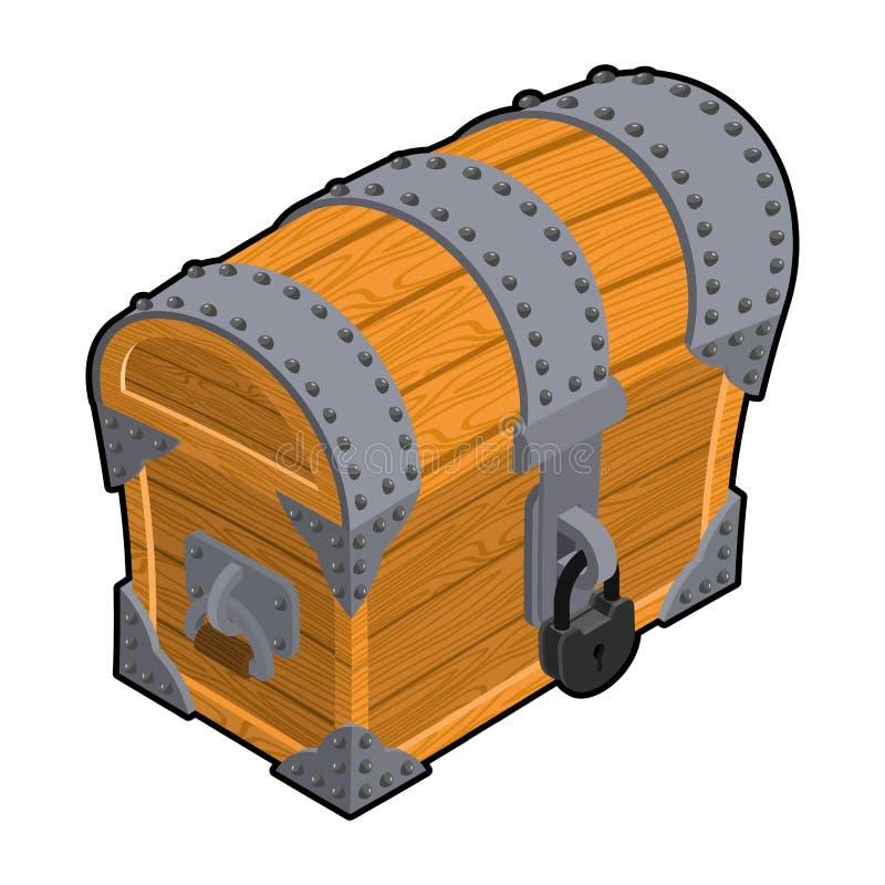 Vecchio cofanetto del petto chiuso con la grande serratura Tesori nascosti illustrazione vettoriale
