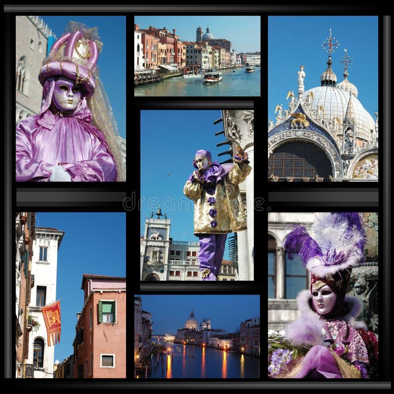 Vecchio collage di Venezia con le mascherine immagini stock