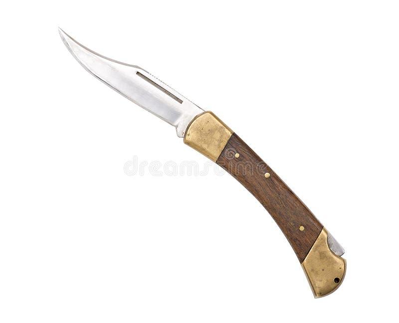 Vecchio coltello di tasca curvo utilizzato fotografia stock libera da diritti