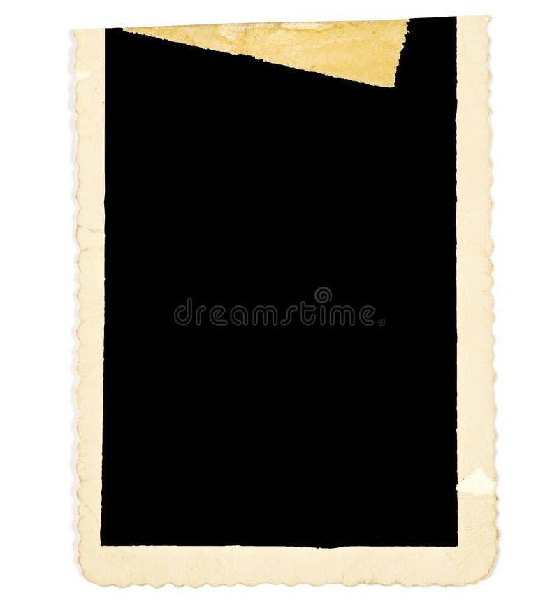 Vecchio confine indossato della foto con nastro adesivo sbiadito fotografia stock