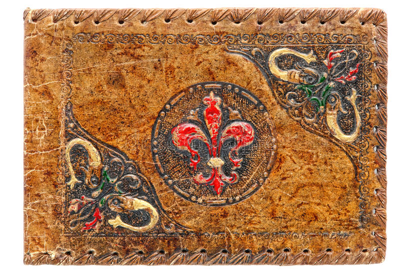 Vecchio coperchio verniciato del cuoio impresso giornale antico fotografie stock libere da diritti