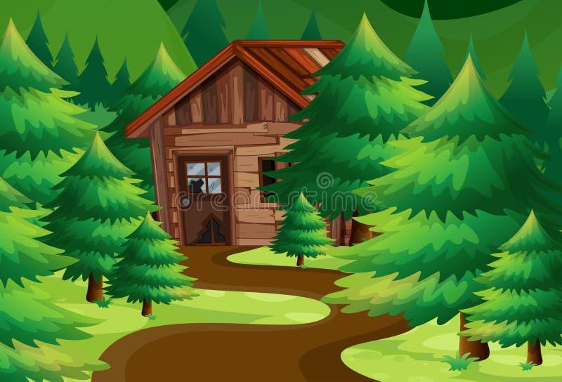 Vecchio cottage di legno nel legno royalty illustrazione gratis