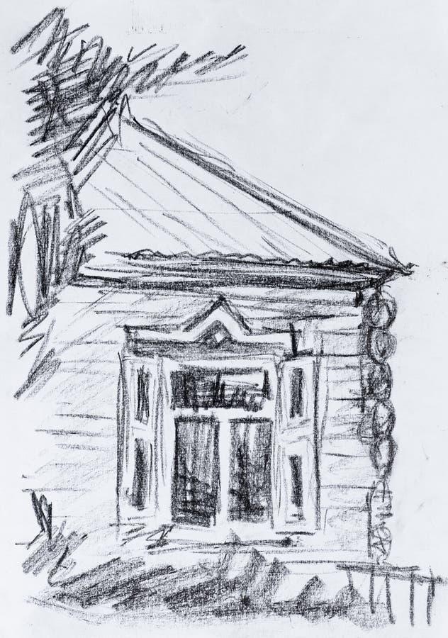 Vecchio cottage, disegno a matita immagine stock libera da diritti
