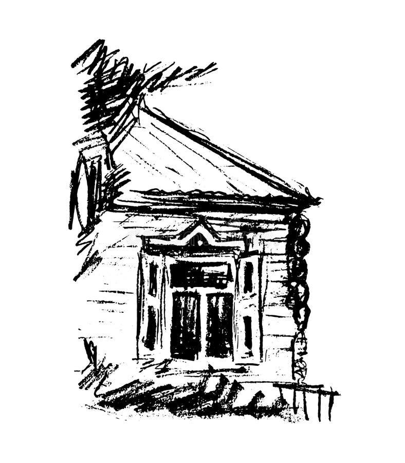 Vecchio cottage, illustrazione di vettore fotografia stock
