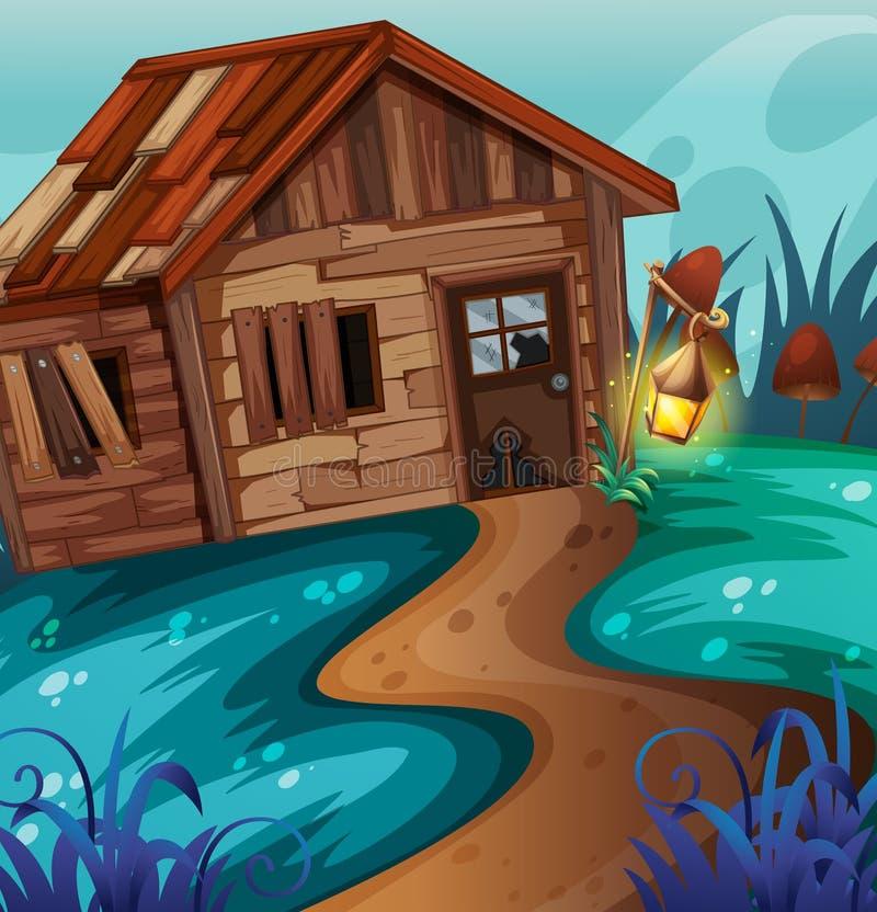 Vecchio cottage nel campo alla notte royalty illustrazione gratis