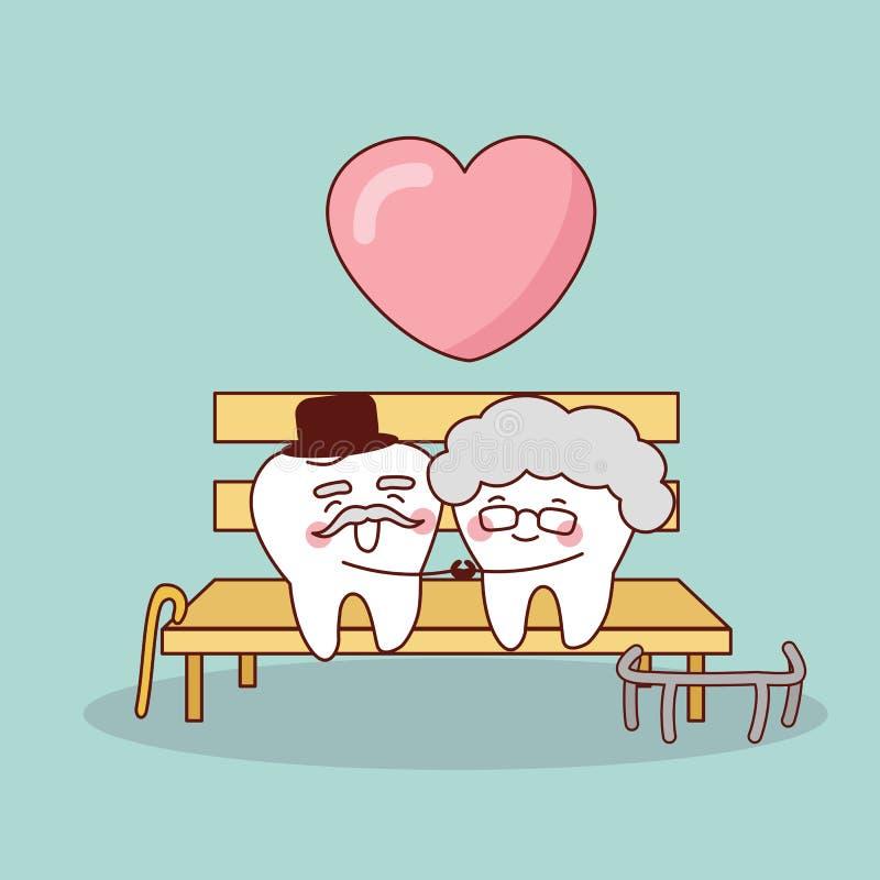 Vecchio dente del fumetto felice royalty illustrazione gratis