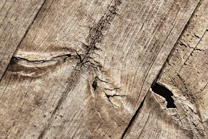 Vecchio dettaglio annodato incrinato stagionato di struttura di lerciume della tavola di pavimento di legno di pino immagini stock libere da diritti