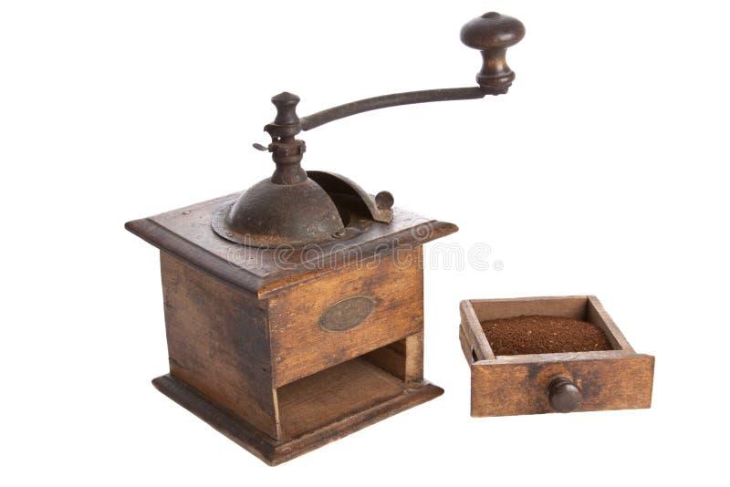 Vecchio di legno manuale della macchina della smerigliatrice di caffè fatto fotografie stock