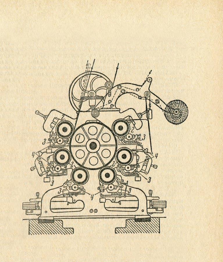 Vecchio diagramma dell'apparato illustrazione vettoriale