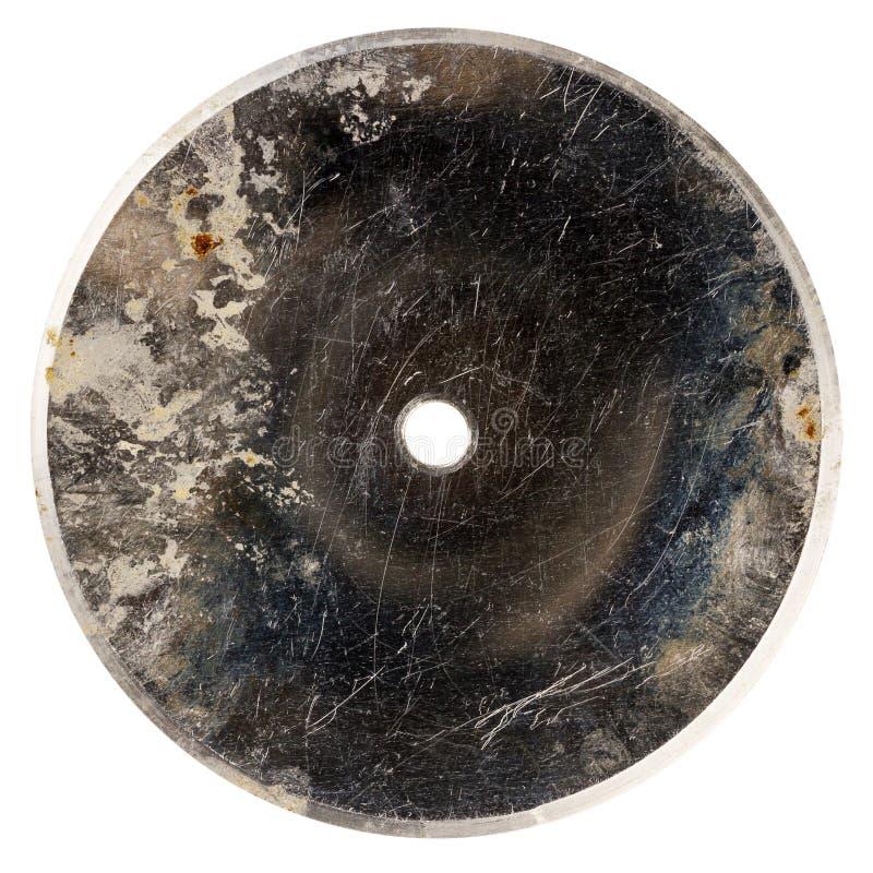 Vecchio disco graffiato grungy del metallo fotografie stock