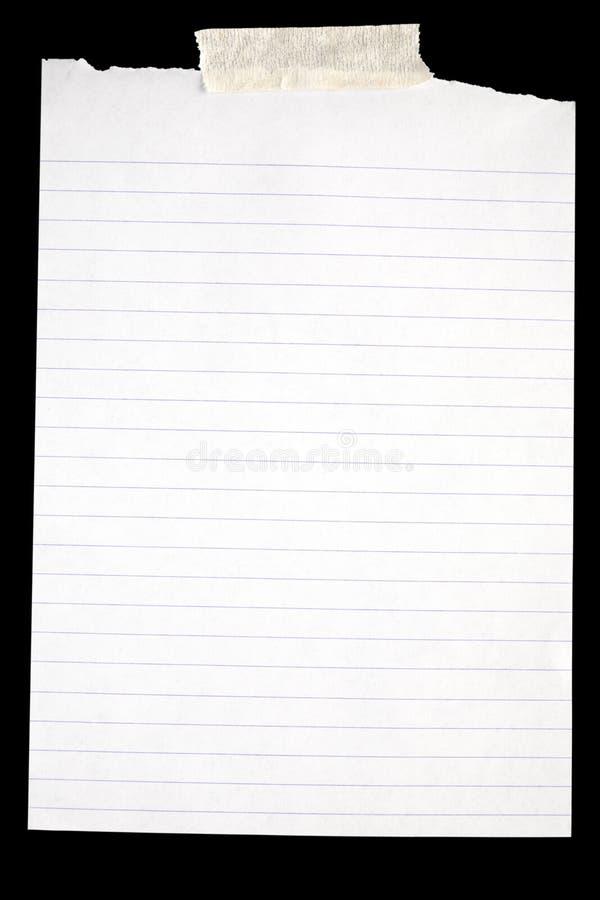 Vecchio documento allineato bianco. fotografia stock