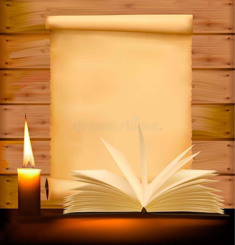 Vecchio documento, candela e libro aperto su priorità bassa di legno illustrazione vettoriale