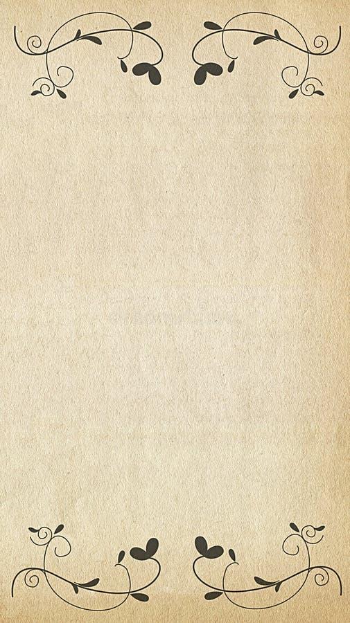 Vecchio documento con gli ornamenti floreali illustrazione di stock