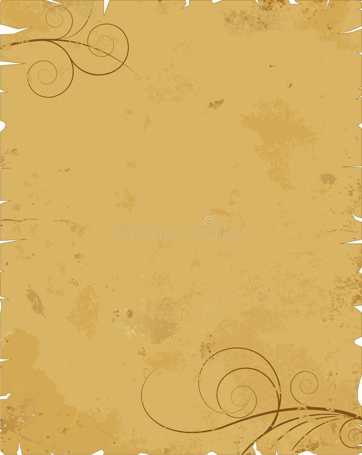 Vecchio documento con il disegno illustrazione vettoriale