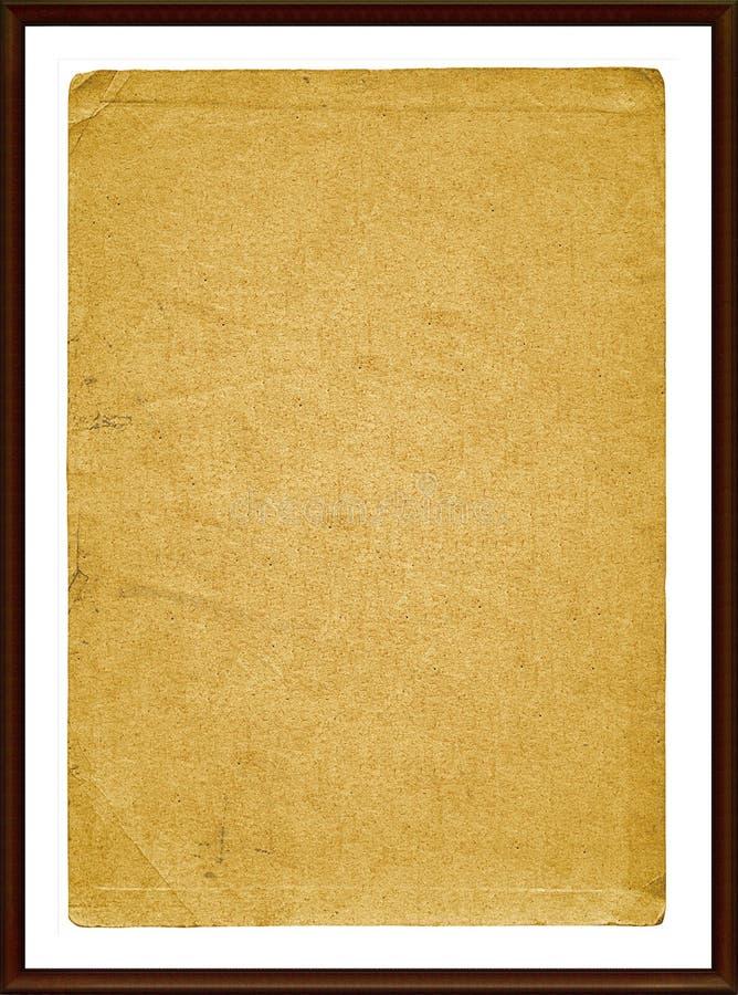 Vecchio documento del grunge nel telaio di legno fotografia stock libera da diritti