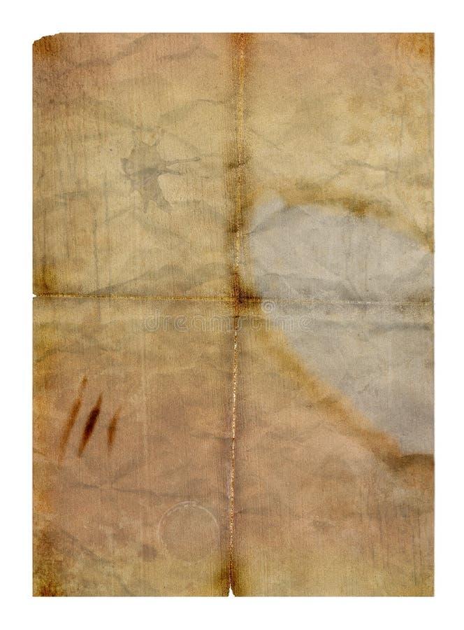 Vecchio documento piegato grungy illustrazione di stock