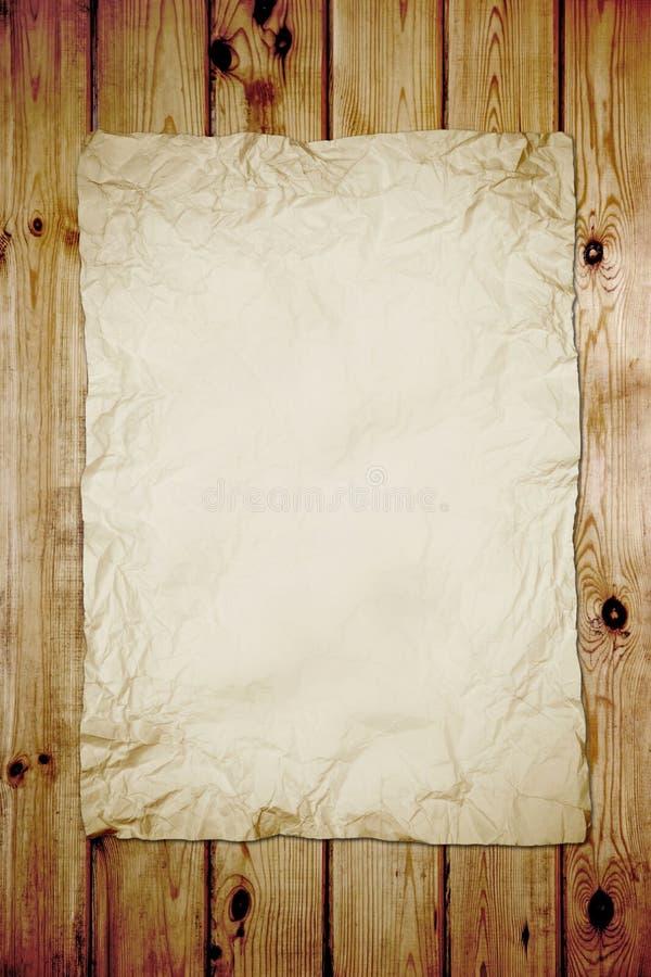Vecchio documento su legno fotografia stock